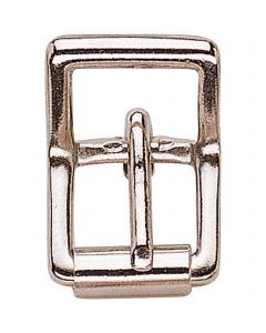 Double buckle with roller, small - brass nickel plated, 12 mm clear width