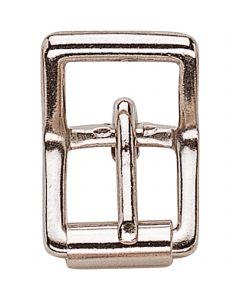 Doppelschnalle mit Rolle, klein - Messing vernickelt, lichte Weite 12 mm
