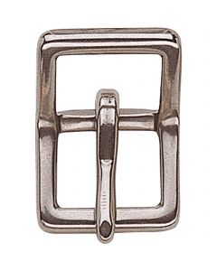 Double buckle without roller, small - Stainless steel, 12 mm clear width