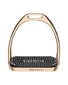 FILLIS Stirrups gold - Stainless steel, size 120 mm with black rubber pad