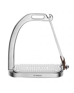 Peacock Stirrups with rubber ring - Stainless steel, size 120 mm with white rubber pad