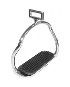 Icelandic stirrups - Stainless steel, size 120 mm with black rubber pad