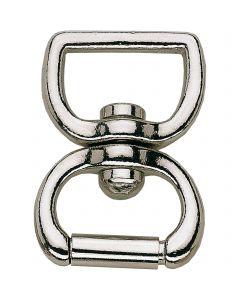 Lunge swivel - brass nickel plated, 23 mm clear width