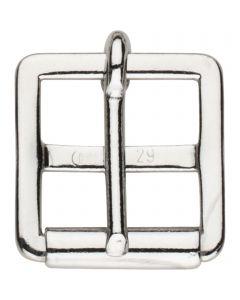 Sattelgurtschnalle mit fester Rolle - Stahl vernickelt, lichte Weite 29 mm
