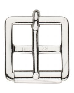 Girth buckle with fixed roller - Steel nickel plated, 29 mm clear width