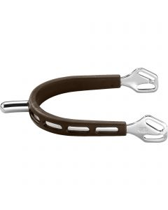 ULTRA fit BROWN GRIP spurs with Balkenhol fastening - Stainless steel, 25 mm rounded