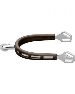 ULTRA fit BROWN GRIP spurs with Balkenhol fastening - Stainless steel, 30 mm rounded
