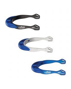 fairRider spurs - aluminium, neck 20mm blue thick rounded