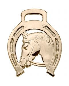 Horse brass with horse head, punched