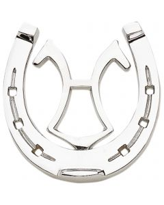 Horse shoe with brand - brass chrome plated,  measures 11 x 10,5 cm